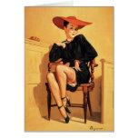 Pin retro de Gil Elvgren del vintage encima del ch Tarjetas