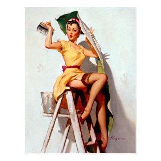Pin retro de Gil Elvgren del vintage encima del ch Tarjetas Postales