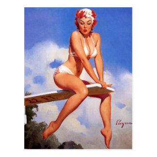Pin retro de Gil Elvgren del vintage encima del ch Postal