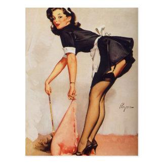 Pin retro de Gil Elvgren del vintage encima del ch Tarjeta Postal