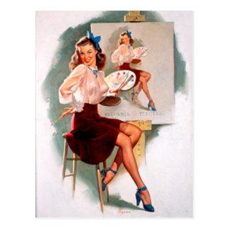 Pin retro de Gil Elvgren del vintage encima del ch Postales