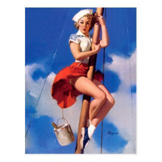 Pin retro de Gil Elvgren del vintage encima del Postales