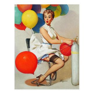 Pin retro de Gil Elvgren del vintage encima del Postal