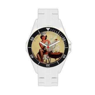 Pin retro de la barbacoa de Gil Elvgren del vintag Reloj De Mano