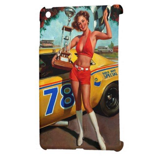 Pin retro de la carrera de coches de Gil Elvgren d iPad Mini Protectores