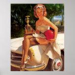 Pin retro de la carrera de coches de Gil Elvgren d Poster