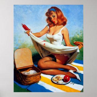 Pin retro de la comida campestre de Gil Elvgren de Posters