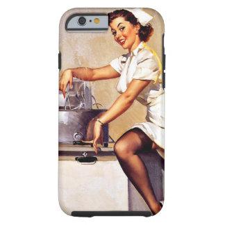 Pin retro de la enfermera de Gil Elvgren del Funda De iPhone 6 Tough