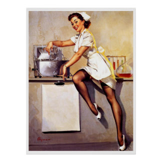 Pin retro de la enfermera de Gil Elvgren del vinta Poster