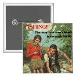 Pin retro de la pesca con mosca