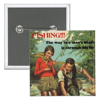 Pin retro de la pesca con mosca pin cuadrada 5 cm