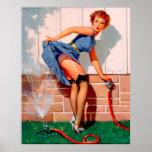 Pin retro de la regadera de Gil Elvgren del vintag Impresiones
