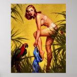 Pin retro de la selva de Gil Elvgren del vintage e Posters