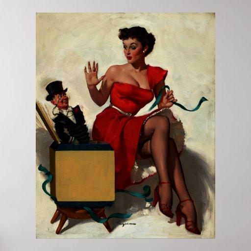 Pin retro de la sorpresa de Gil Elvgren del vintag Poster