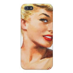 Pin retro de las mujeres del vintage para arriba q iPhone 5 protectores