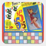 Pin retro de Punchboard del kitsch del vintage enc Calcomanía Cuadradas Personalizada