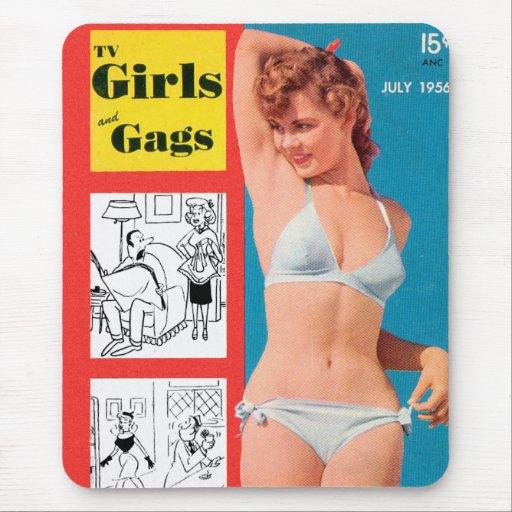 Pin retro del bikini del kitsch del vintage encima tapete de ratón