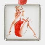 Pin retro del Blonde encima del chica Ornaments Para Arbol De Navidad