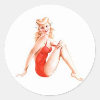 Pin retro del Blonde encima del chica Pegatina Redonda