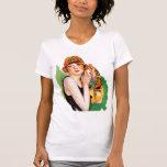 Pin retro del chica de la aleta de las mujeres 20s camisetas