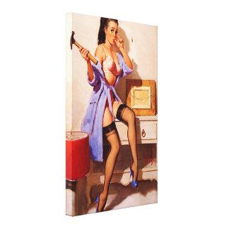 Pin retro del decorador de Gil Elvgren del vintage Impresión De Lienzo