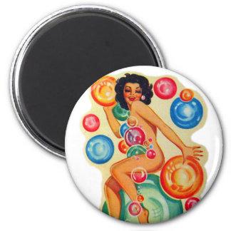 Pin retro del kitsch del vintage encima de burbuja imán redondo 5 cm