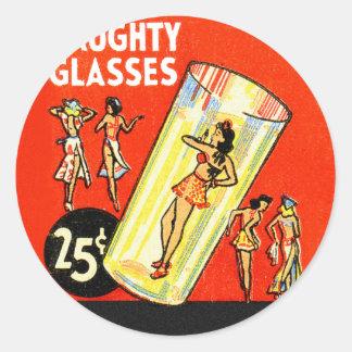 Pin retro del kitsch del vintage encima de chicas pegatina redonda