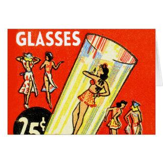 Pin retro del kitsch del vintage encima de chicas tarjeta de felicitación