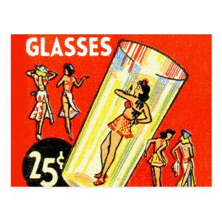 Pin retro del kitsch del vintage encima de chicas tarjetas postales