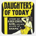 Pin retro del kitsch del vintage encima de hijas d calcomania cuadradas
