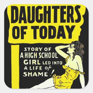 Pin retro del kitsch del vintage encima de hijas calcomania cuadradas