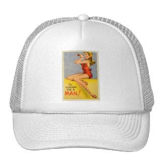 Pin retro del kitsch del vintage encima de la post gorras