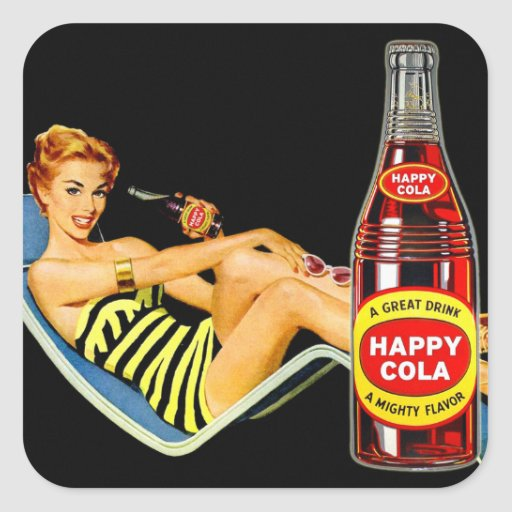 Pin retro del kitsch del vintage encima de la soda pegatina cuadrada