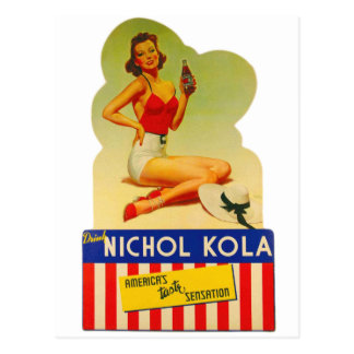 Pin retro del kitsch del vintage encima de la soda tarjeta postal