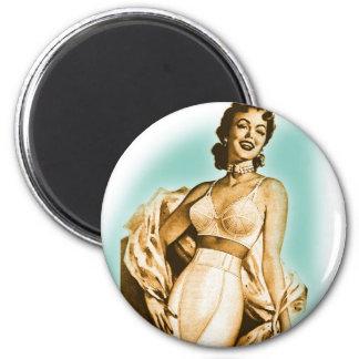 Pin retro del kitsch del vintage encima del anunci imán redondo 5 cm