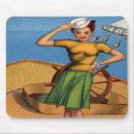 Pin retro del kitsch del vintage encima del arte d alfombrillas de raton