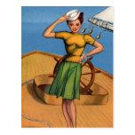Pin retro del kitsch del vintage encima del arte d postal