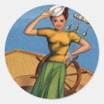 Pin retro del kitsch del vintage encima del arte etiqueta redonda