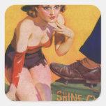 Pin retro del kitsch del vintage encima del brillo colcomanias cuadradases