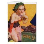 Pin retro del kitsch del vintage encima del brillo felicitación