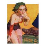 Pin retro del kitsch del vintage encima del brillo tarjeta postal