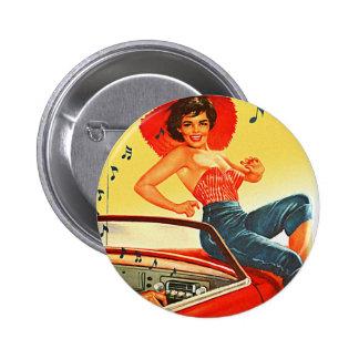 Pin retro del kitsch del vintage encima del chica