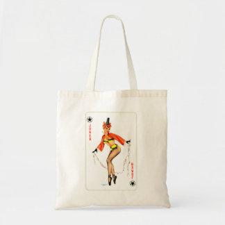 Pin retro del kitsch del vintage encima del chica  bolsa de mano