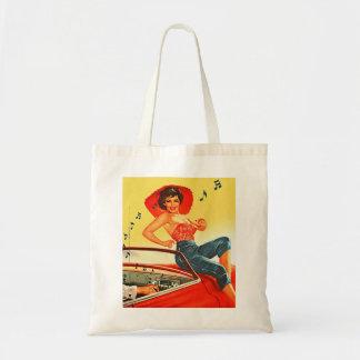 Pin retro del kitsch del vintage encima del chica  bolsa
