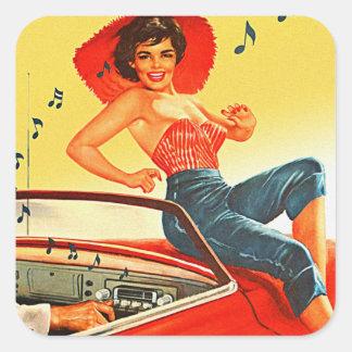 Pin retro del kitsch del vintage encima del chica pegatina cuadrada