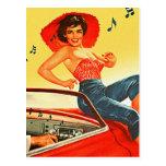 Pin retro del kitsch del vintage encima del chica tarjeta postal