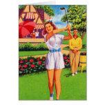 Pin retro del kitsch del vintage para arriba Golfi Felicitacion
