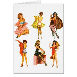 Pin retro del kitsch seis del vintage encima de ch tarjeta de felicitación