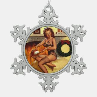 Pin retro del navidad de Gil Elvgren del vintage E Adornos