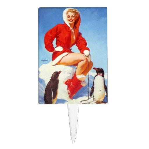 Pin retro del navidad de Gil Elvgren del vintage E Palillos De Tarta